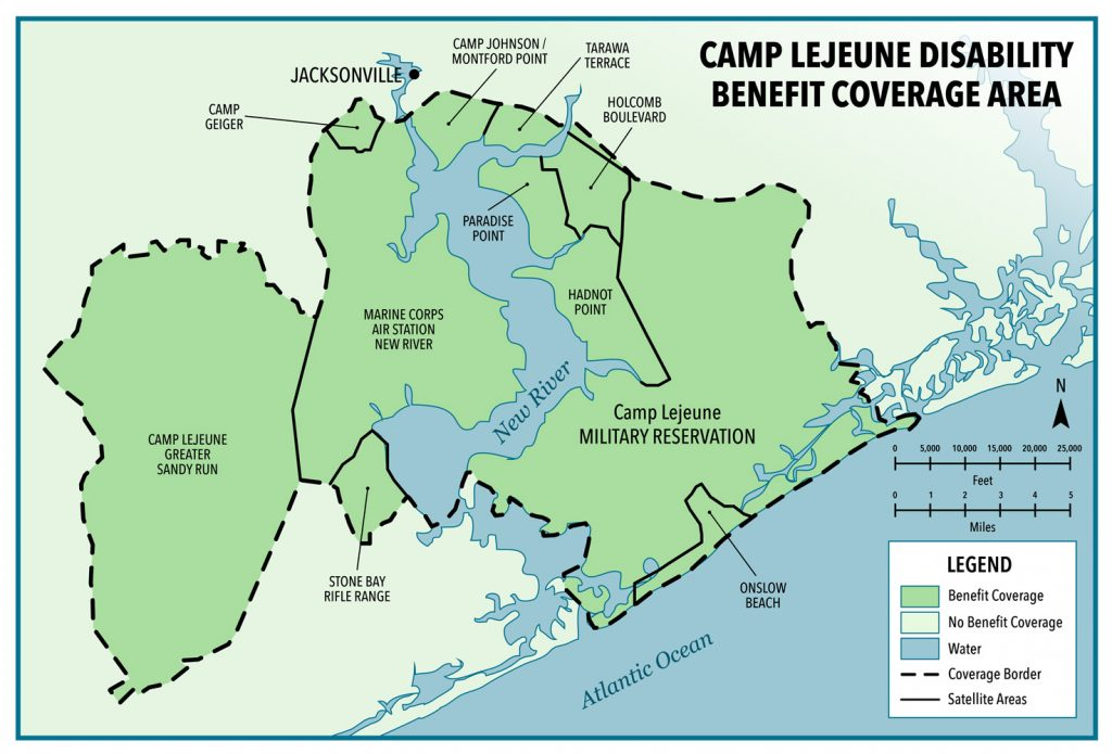 Map of Camp Lejeune Disability Benefit Coverage Area